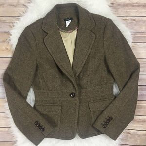 J.Crew Wool Herringbone Tweed Riding Blazer