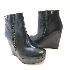 COACH 'Poppy' Black Leather Wedge Bootie 9.5