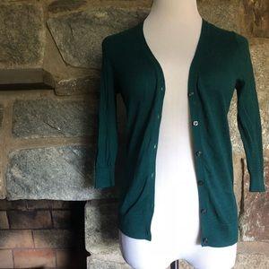 Emerald Green V Neck Cardigan