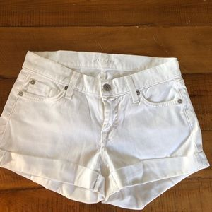 7 for all mankind white denim cuffed shorts 24