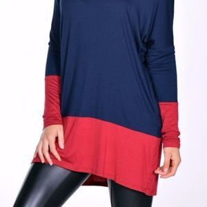 Soft Navy & Red Jersey Colorblock Tunic
