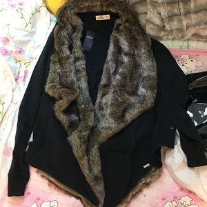 Hollister faux fur soft cardigan