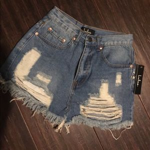 Lulu high rise denim shorts