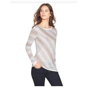 White House Black Market Textured Stripe Pullover