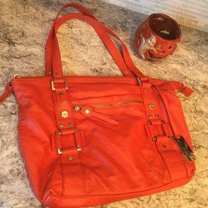 Orange leather handbag!