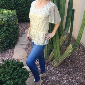 ✨Saks Fifth Avenue Champagne Colored Sequined Top✨