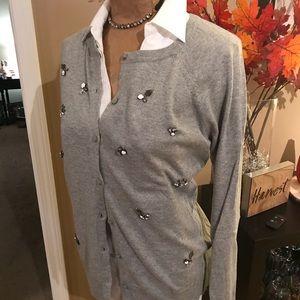 NWOT! Grey embellished sweater