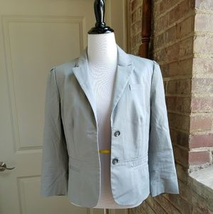 Light Gray Cotton/Spandex LOFT Blazer, 6