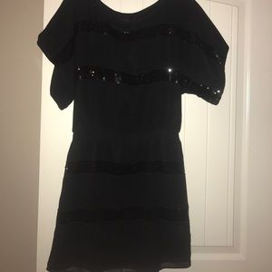 Jessica Simpson black sequined striped dress