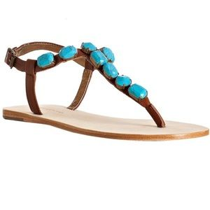 Cynthia Vincent Turquoise Stone Jewel Sandals
