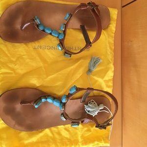 6dc8b0bc9 Cynthia Vincent Shoes - Cynthia Vincent Turquoise Stone Jewel Sandals