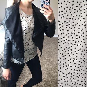 LOFT white & black blouse