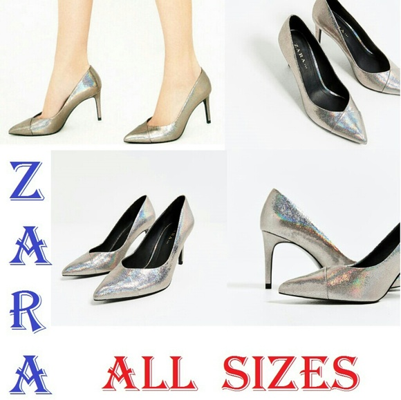 dd7118dc6c7 ZARA Shiny Silver New Comfy Pumps