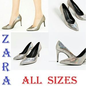 ZARA Shiny Silver New Comfy Pumps
