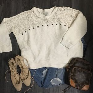 Zara trafaluc lace/studded sweater