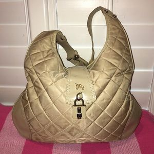 Burberry Quilted Nylon & Brushed Leather Hobo Bag