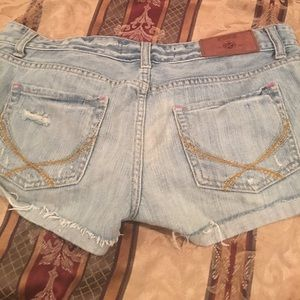 Pink light blue jean shorts