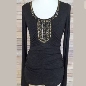 CAbi Jeweled Ruched Long Sleeve Top SZ M