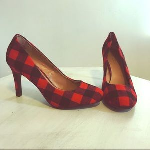 Kelly & Katie red checkered 4-inch heels