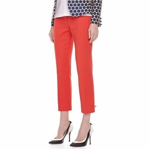 [Kate Spade] Red Jackie Bow Side Cropped Pants