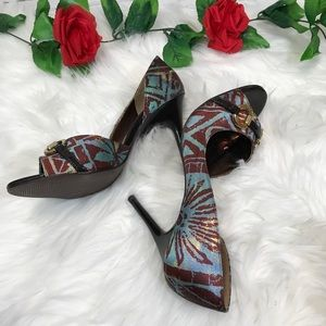 Carlos Santana Roulette blue/brown stilettos sz 8