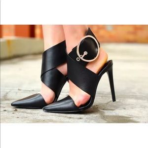 Zara Leather Wraparound Strap Buckle Heels