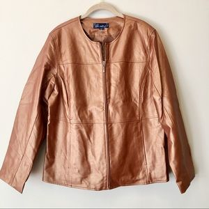 Bronze Faux Leather Jacket