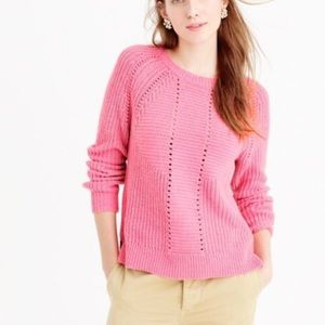 J. Crew wool-blend cable sweater in pink