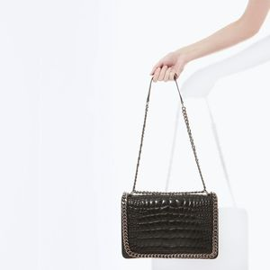 Zara leather quilted chain bag!