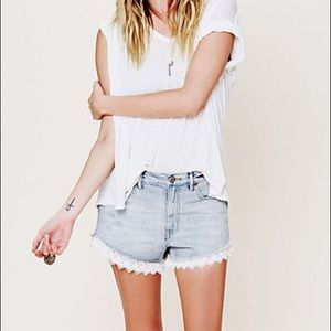"Free people ""Lacey"" lace trimmed denim shorts"