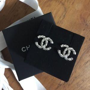NWT Chanel Crystal CC Earrings