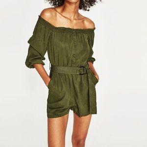 Zara Womens Off Shoulder Romper Olive Green Khaki