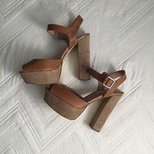 Steve Madden brown block platform heel