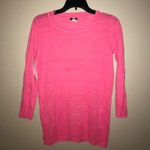J Crew XS hot pink linen sweater