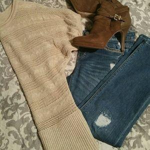 Tan knit dolman sweater