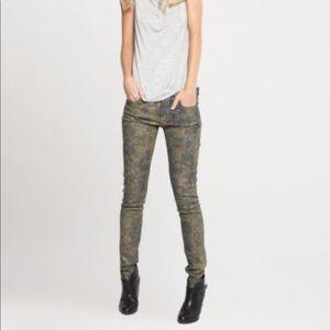 7famk Metallic Gold Floral Skinny Jeans 28 NWOT