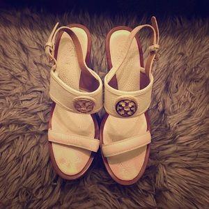 Tory Burch 3 inch cream wedge sandals.