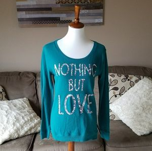 "Arizona Teal ""Nothing But Love"" Tunic Sweater"