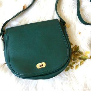 vintage green leather crossbody messenger bag.