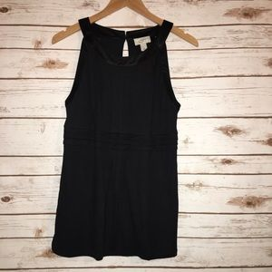 Ann Taylor Loft Tucked Pleated Basic Black Tank M
