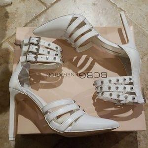 White BCBGeneration strappy studded heels