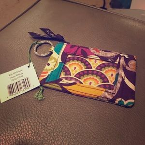 BRAND NEW Vera Bradley Zip ID Case Plum Crazy