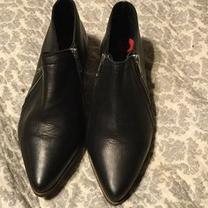 Free people black leather shoe booties