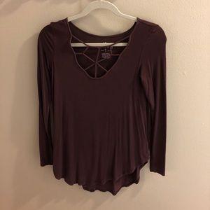 Burgundy cage neck t-shirt
