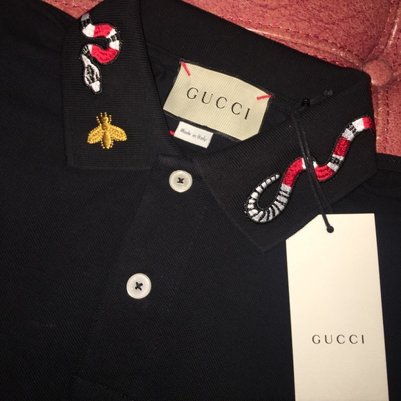 d10dd2004 Gucci Polo Embroidered with King Snake   Bee