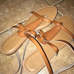 Brown wrap up old navy sandals!