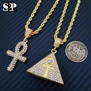 "Ankh Cross & Pyramid Pendant & 24"" Rope Chain"