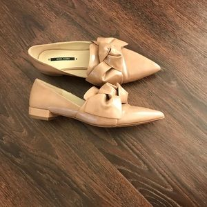 ZARA FLAT SHOES WITH BOW DETAIL Beige