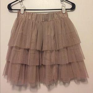 High Waisted Pink/Taupe Mesh Mini Skirt