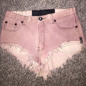 One teaspoon burgundy jean shorts
